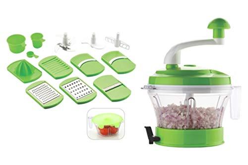 Slice & Dice Manual Food Processor - Chopper| Atta Maker| Dough Kneader| 11 in 1 Vegetable Chopper| Slicer| Grater| Veggie Cutter| Vacuum Base| Mixer| Grinder| Juicer (Green & Blue)