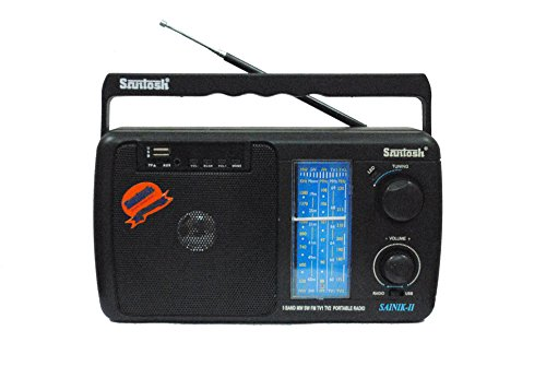 Santosh Five Band Portable FM Radio with USB & AUX Support with Remote Control (Models May Vary)