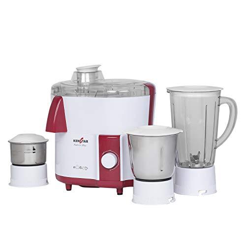Kenstar NUTRIV Plus 450- WATT JUICER Mixer Grinder with 3 Jars (White & Maroon)