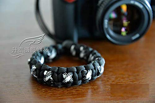 RUBRIC® Braided King Cobra Paracord Hand Grip Wrist Strap for All DSLR Camera/Binoculars (Black and White Mix)