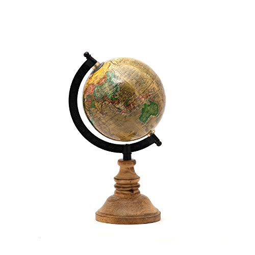 casadecor fermi zone brown sea world 5 desktop globe for kids with wooden stand-Multi color