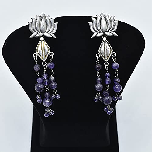 Platear Lotus Design With Amethyst Hanging Traditional Earring