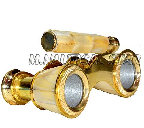 Shiny Brass Mini Nautical Binocular Vintage Look Spyglass with Stand