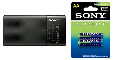 Sony ICF-P36/BC Compact Portable Radio FM|MW|SW Black with Sony Alkaline AM3L-B2D//Z Ula Batteries(Pack of 2 Batteries)