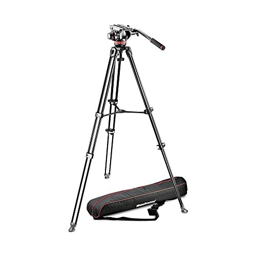 Manfrotto MVK502AM-1 Professional Fluid Video System Aluminum Tripod with Telescop Twin Leg (Black)