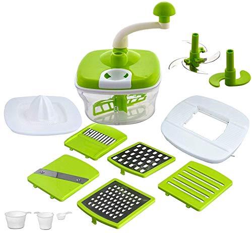 AMAZING MALL (LABEL) 10 in 1 Plastic Manual Food Processor/Dough Maker/Atta Maker/Vegetable Cutter/Slicer/Grater/Blender/Juicer for Kitchen(Multicolour)