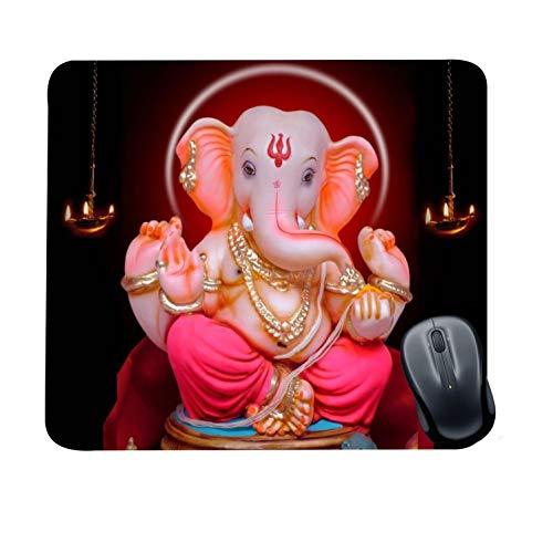 Family Shoping New Year Gifts Item Office Printed Ganpati Bappa Mousepad for Computer, PC, Laptop, Pink
