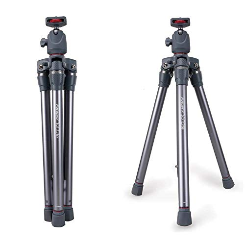 Fotopro S3 Lite Lightweight Camera Tripod Stand with Ball Head for DSLR Camera, Gopro, Smartphone, Grey+Red Payload 2.5Kg