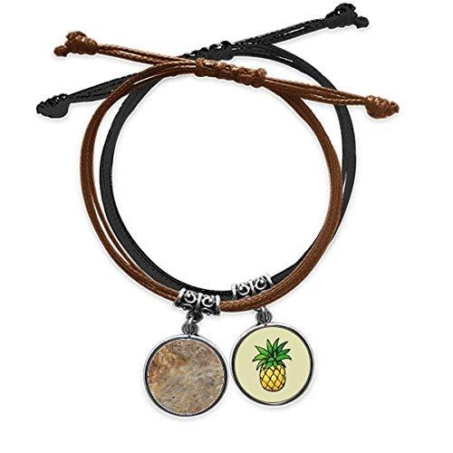 DIYthinkerGrey Marble Miscellaneous Illustration Pattern Bracelet Rope Hand Chain Leather Pineapple Wristband