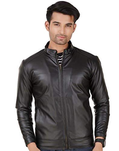 Leather Retail Faux Leather Black jacket for Man-L