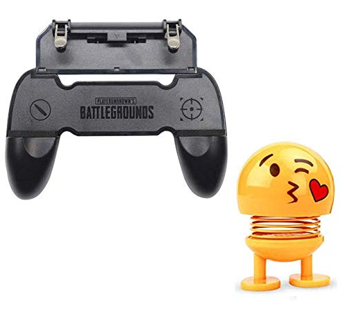 Gamepad W10 Handle Grip Wireless Controller Joystick for PubG with Metal Buttons Trigger Key for All Smart Phone with Cute Emoji Bobble-Head Smiley Spring Dolls Car Ornaments Bounce Toys by Suckey