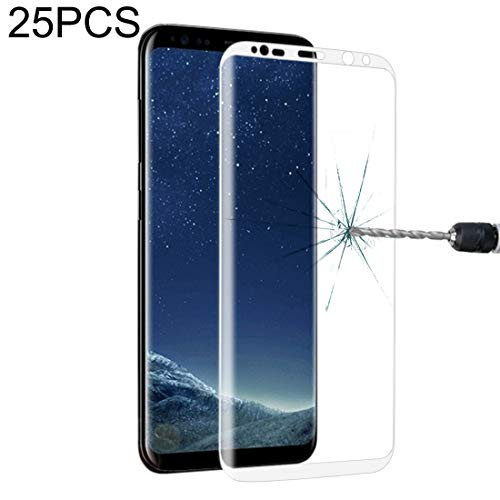 LIDGRHJTHTGRSS Mobile Phone Accessories Screen Protectors 25 PCS for Galaxy S8 Plus Full Screen Edge Glue Tempered Glass Screen Protector(Black) (Color : White)