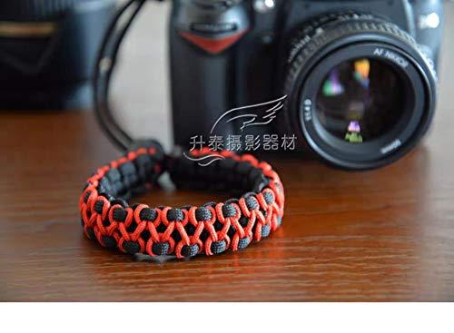 RUBRIC® Braided Herringbone Paracord Hand Grip Wrist Strap for All DSLR Camera/Binoculars (Black and Orange HB)