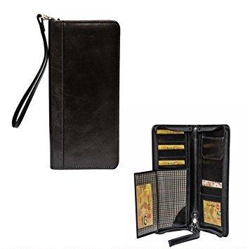 Klasse Leather Klasse Unisex Leather Zipper Wallet Card and Mobile Holder