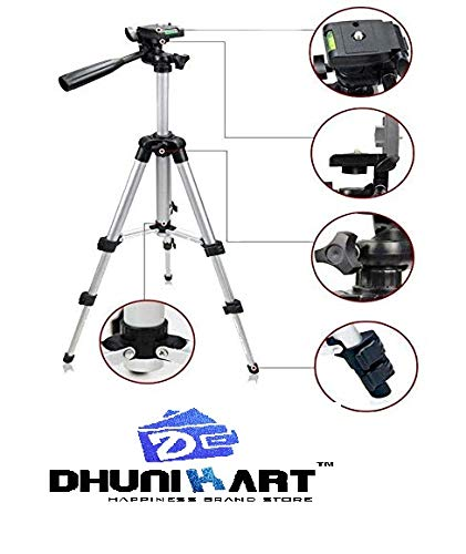 DHUNIKART® Tripod 3110 Portable TIK Tok Stand for Mobile Stand Tripod, Tripod Kit, Monopod (Silver, Supports Up to 1500 g)