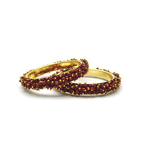 ANIX Beads Bangle for women, Set of 2, Maroon (2.4/2.6/2.8) (2.4)