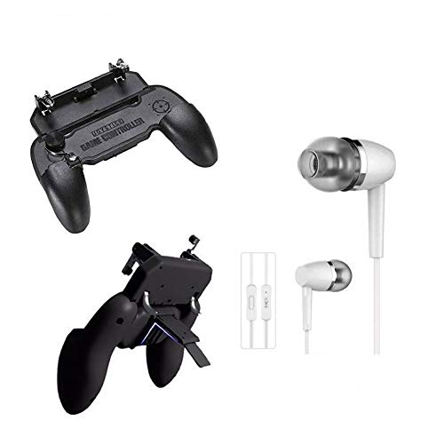 I-Birds Enterprises® W11 Joystick Gamepad All-in-one Mobile Game Fire-Free Pad PUBG Controller L1 R1 Trigger for game & in-Ear Headsets Mic, Bass, Equalizer & 3.5mm Jack For Android & iOS Smartphone (Assorted)