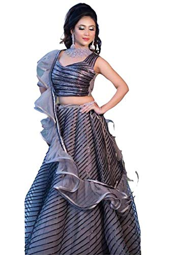 Fashion Exotic Grey Tissue Fabric Crop Top And Skirt (XX-Large)