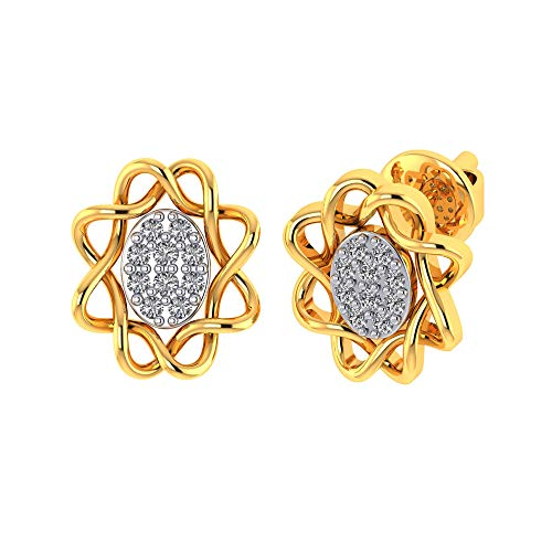 Vaibhav Jewellers 18k (750) Yellow Gold and American Diamond Stud Earrings for Women