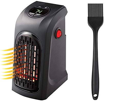 ZUNBELLA combo of Mini Heater Compact Plug-In Portable Digital Electric Heater and Silicone Black Oil Brush for Basting Heat Resistant Non-Sticky Grilling and Baking Barbecue Brush