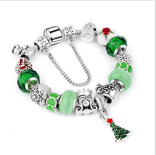 3nh Snowflake Charm Bracelet for Women DIY Crystal Beads fit Pa Bracelets & Bangles (Gold, 18 em)