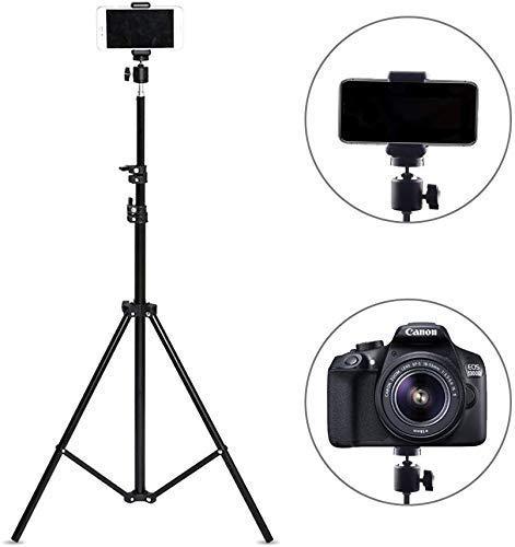 HOTNIX 70 inch Foldable Camera Tripod Stand with Mobile Clip Holder Bracket,4 Section Adjustable Travel Tripod - Black