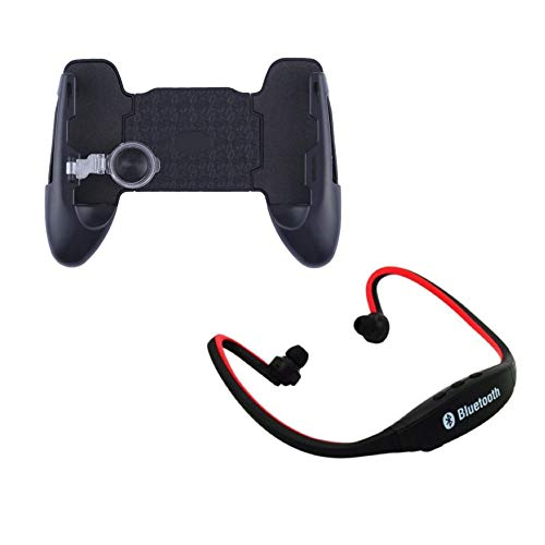 I-Birds Enterprises® Gamepad Handle Grip Wireless Controller Joystick with Fire Button Trigger Key for Mobile Gaming & Bluetooth BS19C in-Ear Earphone Neckband HandFree for Android & iOS SmartPhone (Assorted)