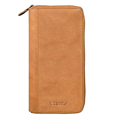 ABYS Genuine Leather Tan Unisex Card Stock||Passport Wallet||Passport Holder||Mobile Cover with Metallic Zip Closure
