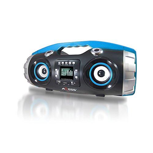 AXESS PBBT2709BL Portable Bluetooth FM Radio/CD/MP3/USB/SD Heavy Bass Boombox (Blue)