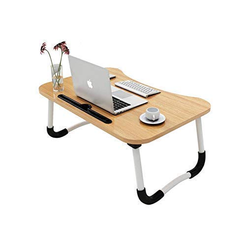 KOZZBY Foldable Laptop Desk Table, Studyble/Dock Stand with Foldable Metal Legs with Mobile Dock Stand (L 60 cm, H 28 cm, W 40 cm) (Black) (Wood)