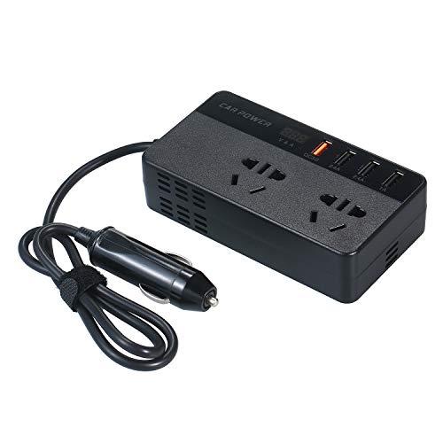 KKmoon 150W Portable Power Inverter DC 12V to AC 220V Car Inverter Converter Transformer with USB Port Current & Voltage Display 2 AC Outlets 3 USB Ports 1 QC3.0 USB Port