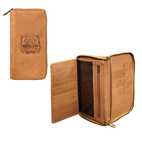 ABYS Genuine Leather Tan Unisex Coin Purse||Passport Cover||Mobile Case||Passport Holder||Cheque Book Holder||Travel Wallet with Metallic Zip Closure