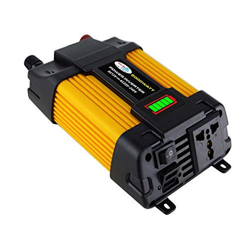 dodocool Modified Sine Wave Inverter High Frequency 4000W Peak Power Inverter DC 12V to AC 220V Converter Car Power Charger Inverter with 2.1A Dual USB Port Battery Clips LED Battery Capacity Displ