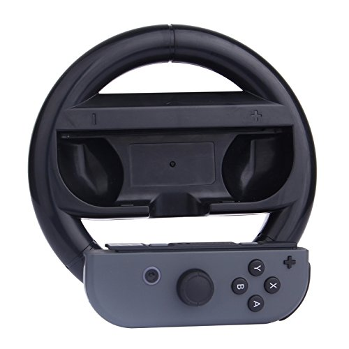 Generic For Nintendo Switch Joy-Con Controller (Not Included) Round Gaming Steering Wheel(Black)