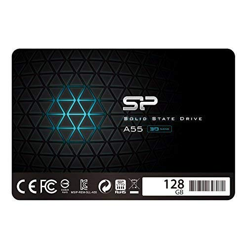"""Silicon Power 128GB SSD 3D NAND A55 SLC Cache Performance Boost SATA III 2.5"""" 7mm (0.28"""") Internal Solid State Drive (SU128GBSS3A55S25AC)"""