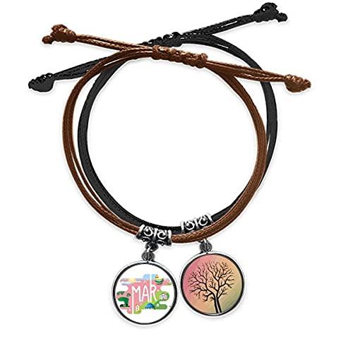 Bestchong DIYthinkerMarch Month Season Illustration Bracelet Rope Hand Chain Leather Tree Wristband