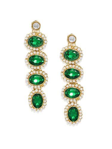 Zaveri Pearls Alluring Green Stones Stylish Dangle Earring For Women-ZPFK9427