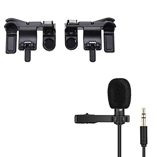 Rednix Black Gaming Joystick for Mobile Controller Fire Button Trigger with Microphone Voice Recording Mic for Recording.