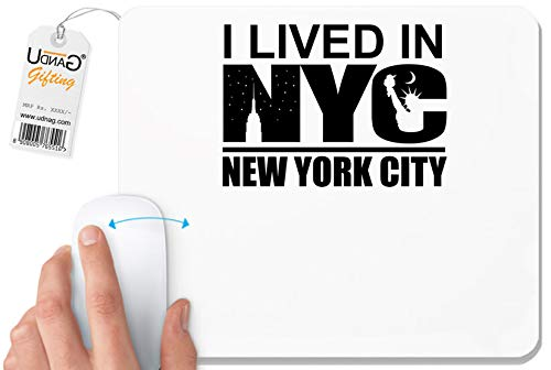UDNAG White Mousepad 'New York | I Live in NYC New York City' for Computer/PC/Laptop [230 x 200 x 5mm]