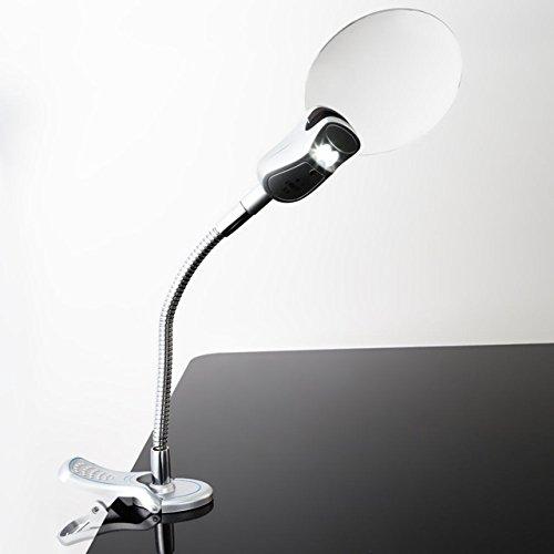 Generic 2. 5x90 MM 4x21 MM 2 LED Lamp Magnifier Clip