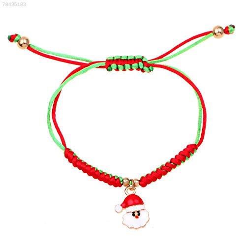 ELECTROPRIME 8F95 Christmas Bracelet Santa Claus Pendant Fashion Charm Woven Bangle Jewelry