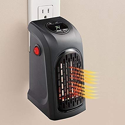 Ae zone Small Electric Handy Room Heater Compact Plug-in||The Wall Outlet Space Heater 400Watts Garage Bathroom Home||Handy Air Warmer Blower Adjustable Timer Digital Display for Office/Camper (Black)
