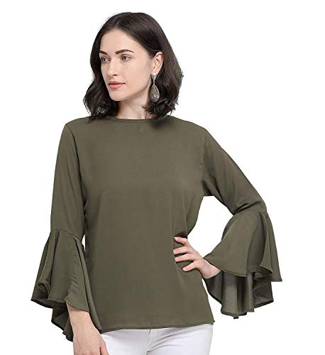City Fashion Women's Solid Regular Fit Poly Crepe Top -Olive (Medium)