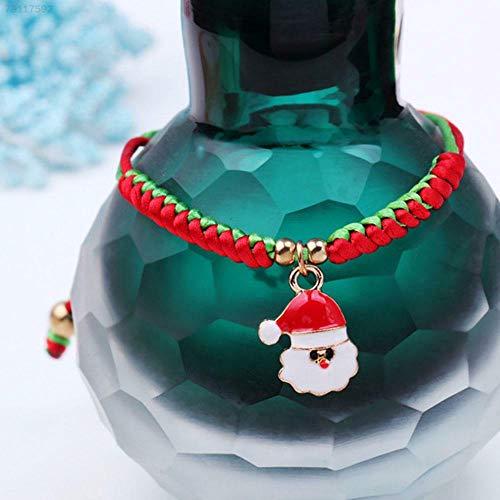 ELECTROPRIME 254A Christmas Bracelet Santa Claus Pendant Fashion Charm Woven Bangle Jewelry