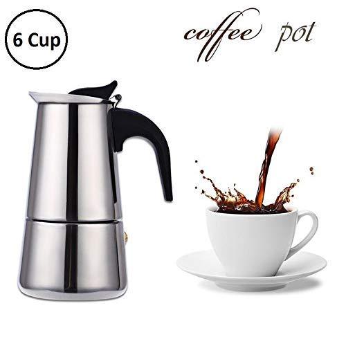 MangalMurti Enterprise Xpresso Stainless Steel Espresso Coffee Maker/Percolator Coffee Moka Pot Maker, Silver (6 Cup)