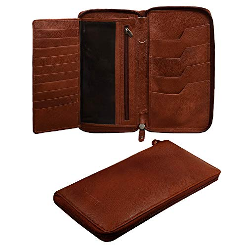 ABYS Genuine Leather Bombay Brown Men Wallet||Card Holder||Passport Holder||Coin Purse||Cheque Book Holder||Card Case||Mobile Case Holder with Zip Closure