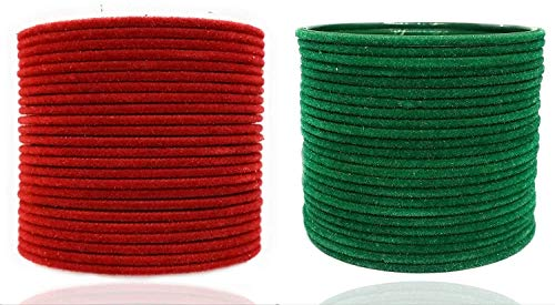 Precious Beauty Fabric, Metal & Enamel Base Metal and Bangle Set for Women & Girls (Red & Green, 2.8)