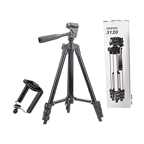 Tripod 3120 Smart Aluminium Adjustable Portable and Foldable Tripod Stand Clip and Camera Holder (Black)