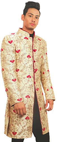 VIP's Couture Silk Embroided Sherwani Peach