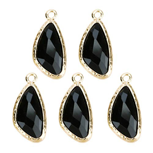 HEALLILY 5PCS Waterdrop Pendant Necklace Dangle Charms Bracelets Pendant Charm Earring Irregular Glass Edge for Home DIY Jewelry Making Supplies (Black)